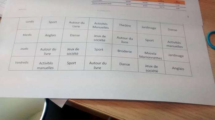 Planning Activité TAP Blancs Bouleaux