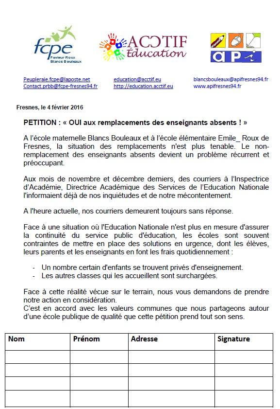 PetitionRemplacementEnseignantsAbsents