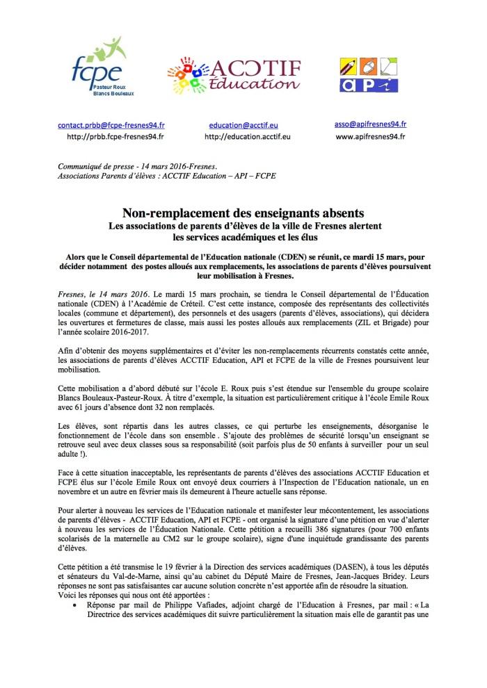 Communiqué de presse_Non-remplacement_EnseignantsAbsents_14-03-2016