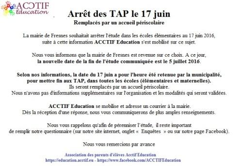 Mots ACCTIF Education au sujet de l'arrêt des TAP