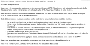 Arrêt des TAP le 17 juin - Mail envoyé le 28 mai pour compléments d'information