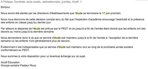 Arrêt de l'étude - Mail envoyé le 3 mai pour compléments d'information