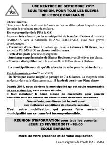 Barbara Mobilisation Fermeture Classe